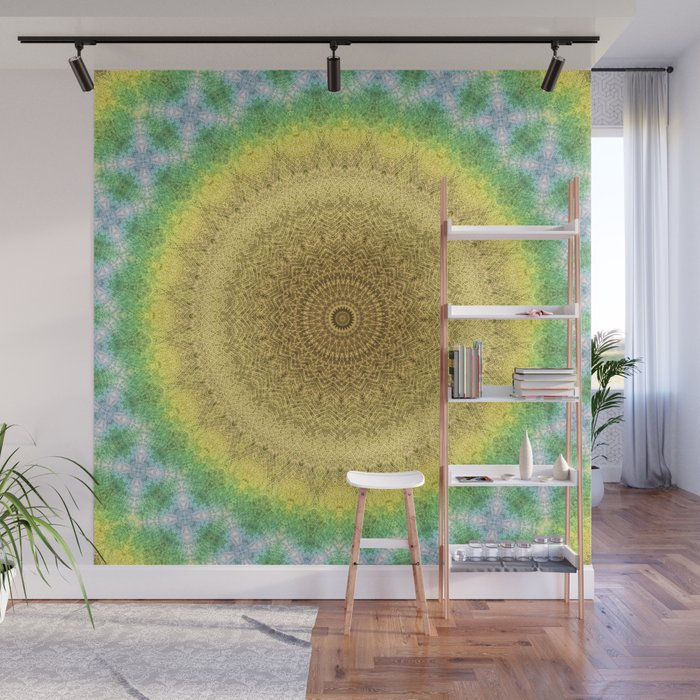 Tie Dye Sunflower Cloth Woven Sun Ray Pattern \\ Yellow Green Blue Purple  Color Scheme Wall Mural by bohemianstyle