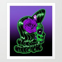 Green Calavera Art Print