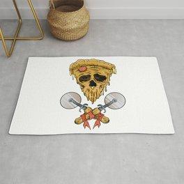 skull pizza slice Rug
