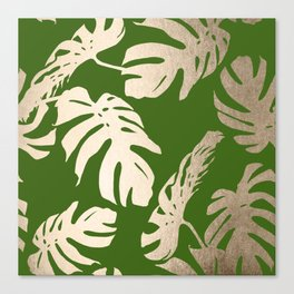 Palm Leaves White Gold Sands on Jungle Green Canvas Print