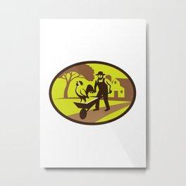Amish Farmer Rooster Wheelbarrow Farm Oval Retro Metal Print