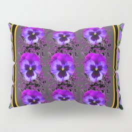 GARDEN OF PURPLE PANSY FLOWERS BLACK & TEAL PATTERNS Pillow Sham