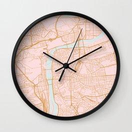 Prague map Wall Clock