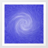 Soft Blue Radial Abstract Art Print