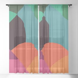 Pink Sunsets Geometric Abstract - Bybrije Sheer Curtain