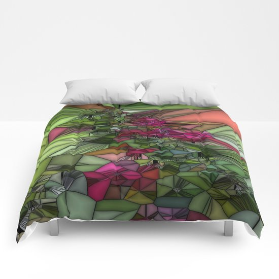Pink and Green Glass Comforters