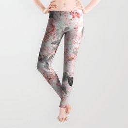 Vintag & Shabby Chic - Living Coral Summer Roses Flower Garden Leggings