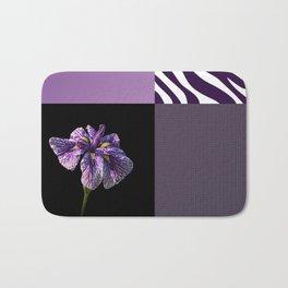 Purple Iris Flower and Zebra Stripes Patch Work Bath Mat