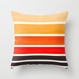 Orange Minimalist Mid Century Modern Color Fields Ombre Watercolor Staggered Squares Throw Pillow