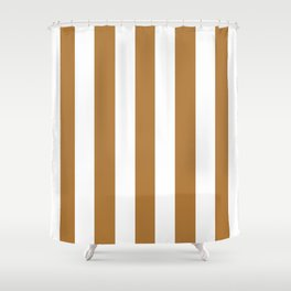 Durian brown -  solid color - white vertical lines pattern Shower Curtain