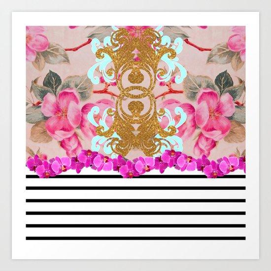 Fashion Girly Pink Vintage Floral Trendy Stripes Pattern Art Print