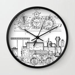 Steam Train Patent - Steam Locomotive Art - Black And White Wall Clock