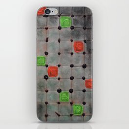Grid with Green and Orange Highlights iPhone Skin