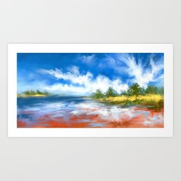 Summer Lake landscape Art Print