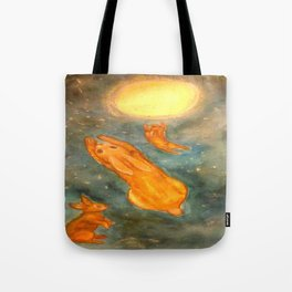 Rabbits on a Snowy Night Tote Bag