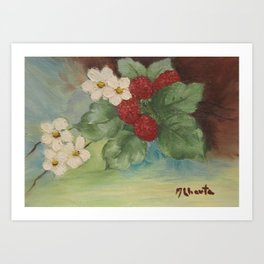 Still Life Berries with flowers Art Print