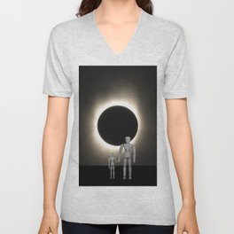 Wooden Anatomy Father Doll and Child before Total Solar Eclipse Unisex V-Neck