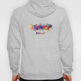 Belfast skyline in watercolor Hoody