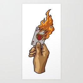 Hand with Burning Ace Card | Poker Luck Gambler Art Print