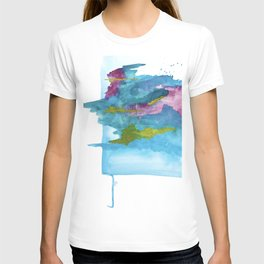 Salt Water Dreams: a vibrant abstract watercolor piece in blue, pink and yellow T-shirt