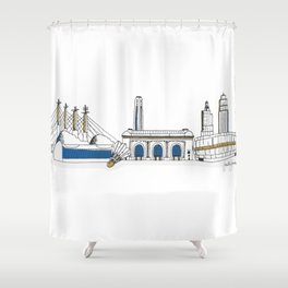 Kansas City Skyline Illustration in KC Royals Colors Shower Curtain