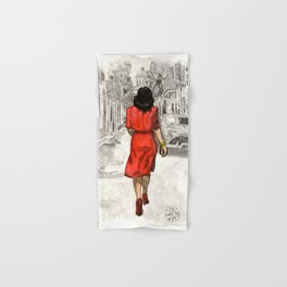 Woman in Red Dress Hand & Bath Towel