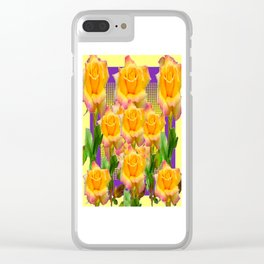 Purple Tinged Golden Yellow Garden Roses Green Art Clear iPhone Case