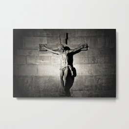 Jesus on the Cross (Black and White) Metal Print