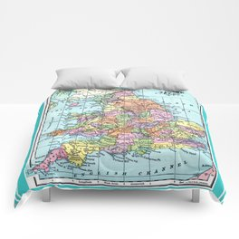 Vintage Map  of England and Wales Comforters
