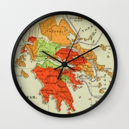 Vintage Map of Ancient Greece (1904) Wall Clock