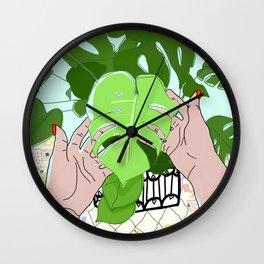 Monstera hands Wall Clock
