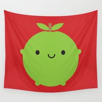 marceline Wall Tapestries featuring Kawaii Apple by Marceline Smith