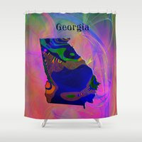 georgia Shower Curtains featuring Georgia Map by Roger Wedegis