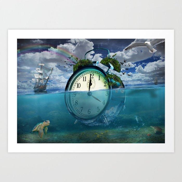 Floating Clock Art Print