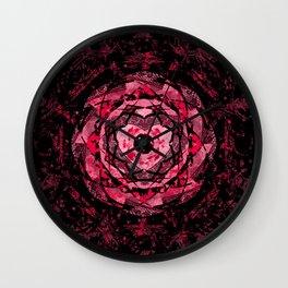 Gothic Pink and Black Heart Mandala Wall Clock