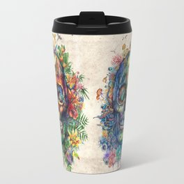 floral tropical skull Travel Mug