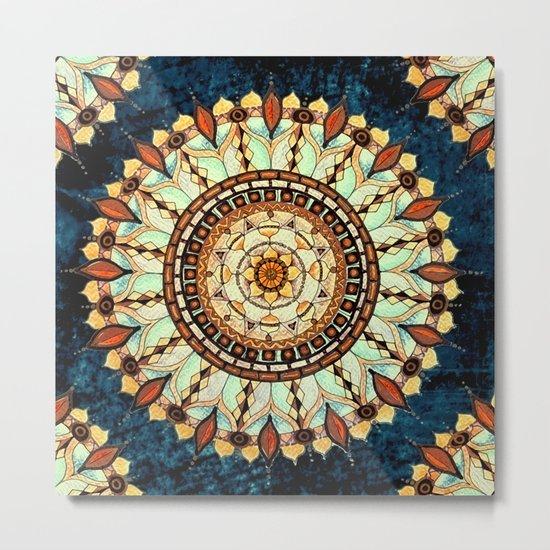 Sketched Mandala Design On A Blue Textured Background Metal Print