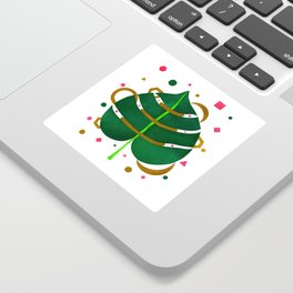 Monstera Leaves with Gold Pink and Green Geometric Confetti Sticker