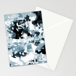 Minerva - abstract art home decor dorm college office minimal painting blue black white Stationery Cards