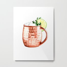 Cocktails. Moscow Mule. Watercolor Painting. Metal Print