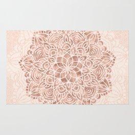 Mandala Seashell Rose Gold Coral Pink Rug