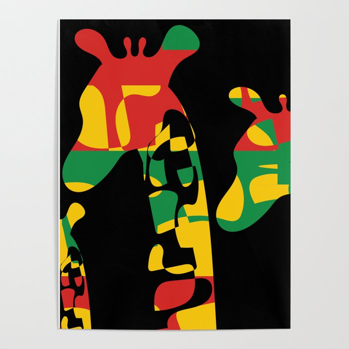 Endangered Species: Giraffes In African Colors Poster By