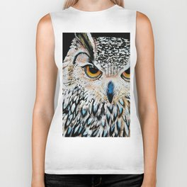 Owl portrait, acrylic on canvas Biker Tank