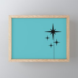 Atomic Age Retro 1950s Starburst in Black and 50s Turquoise Framed Mini Art Print