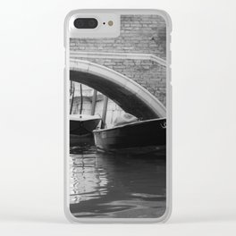 the boats sit quietly in the Venice Canals; black and white photography Clear iPhone Case
