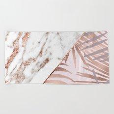 Rose gold marble & tropical ferns Beach Towel