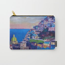 Retro Vintage Style Travel Poster Amazing Amalfi Coast At Sunset Carry-All Pouch