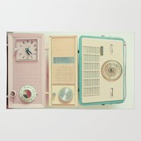 radio Area & Throw Rugs featuring Radio Stations by Cassia Beck