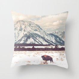 Bison & Tetons Throw Pillow
