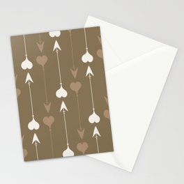 Cupid Arrows - Brown and Beige Stationery Cards